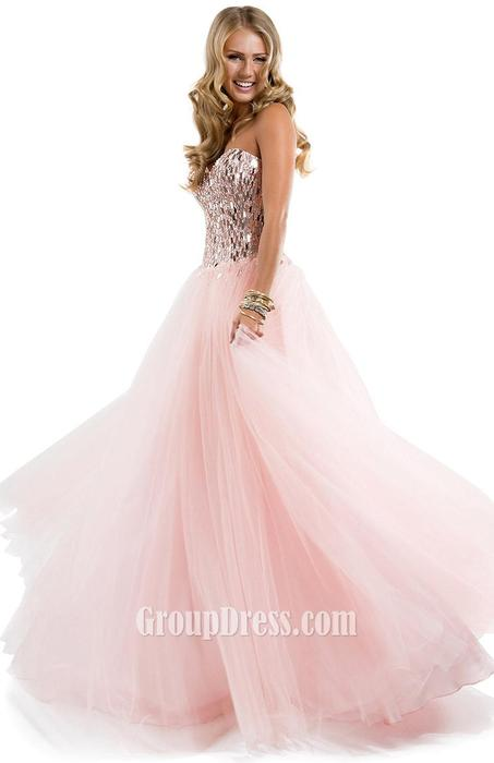 Wedding - Light Pink Sweetheart Pleated Chiffon Prom Dress with Sequins