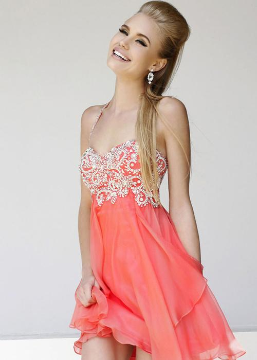 Coral Wedding - Coral Homecoming Dress #2012435 - Weddbook