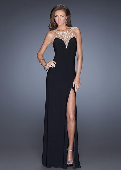 Свадьба - La Femme 20433 Jeweled Top Black High Slit Jersey Gown