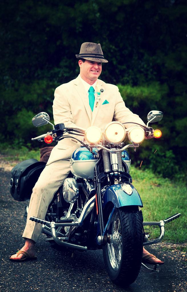 Wedding - Rich-King Wedding 2011', Groom Arriving On His Harley