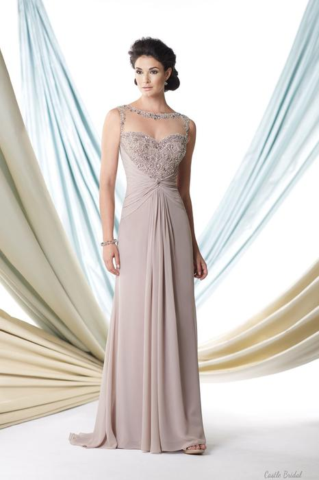 Mariage - Illusion Bateau Neck Beaded Bodice A Line Chiffon Wedding Guests Dress