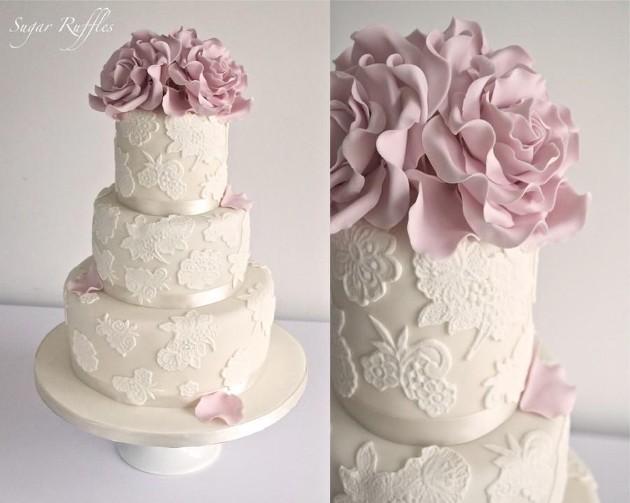 Wedding Cakes Lace Wedding Cake With Dusky Pink Roses 2018161