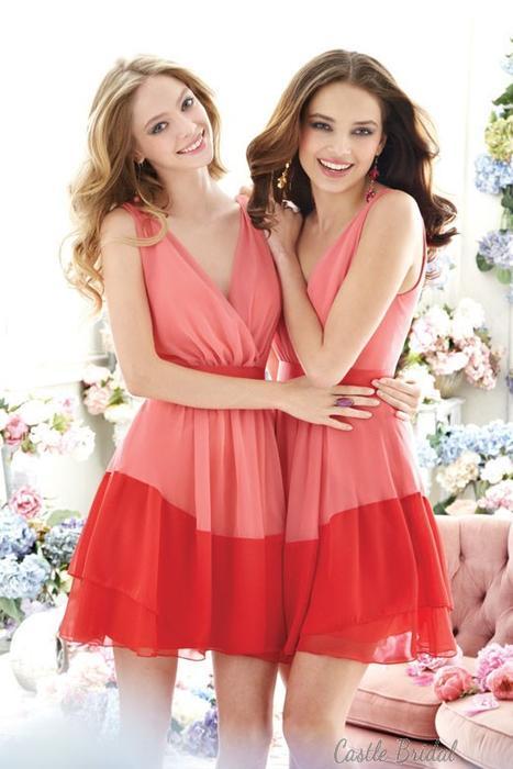 Boda - Melon Chiffon V-neckline A-line Short Prom Dress