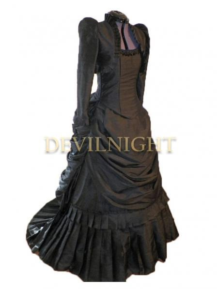Wedding - Black Gothic Victorian Bustle Dress with Long Sleeves Short Jacket
