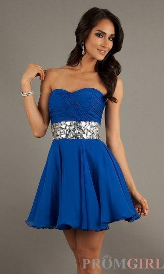 Mariage - Jewels Waist Short Pleated Royal A Line Cocktail Party Dress