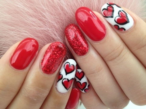زفاف - Valentine's Day Nail Design