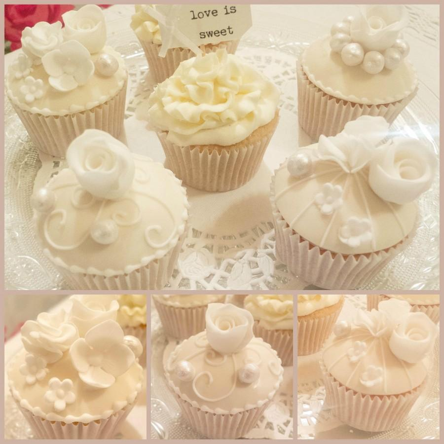 Wedding - Ivory cupcakes decorated with roses
