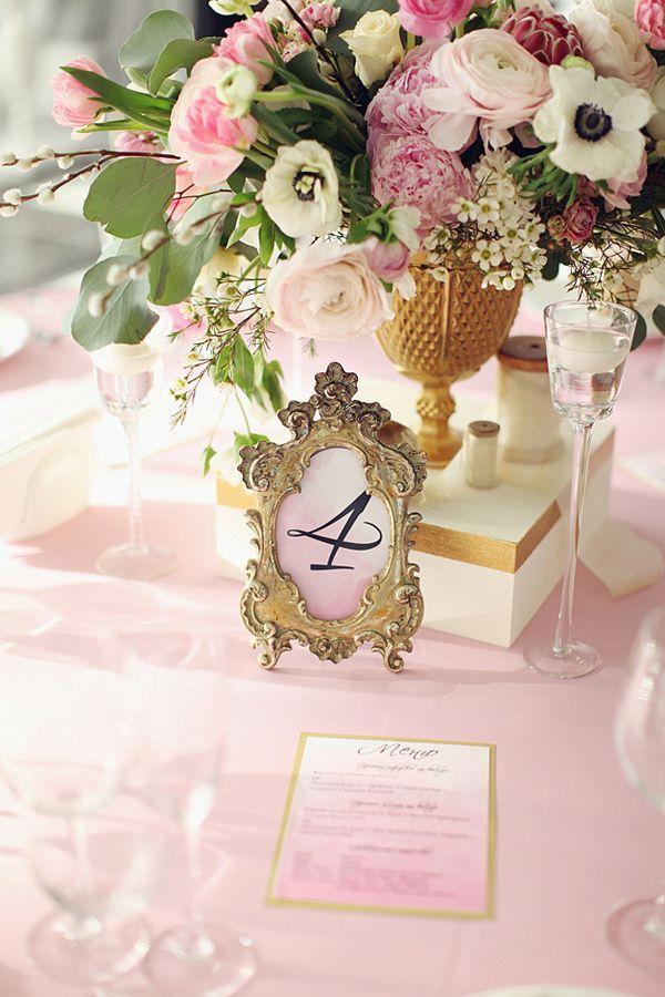 Gold Wedding - Gold Framed Table Numbers #2026465 - Weddbook