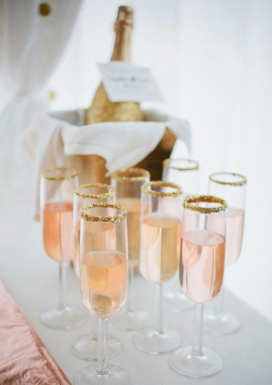 Wedding - Gold Sugar Rimmed Pink Champs