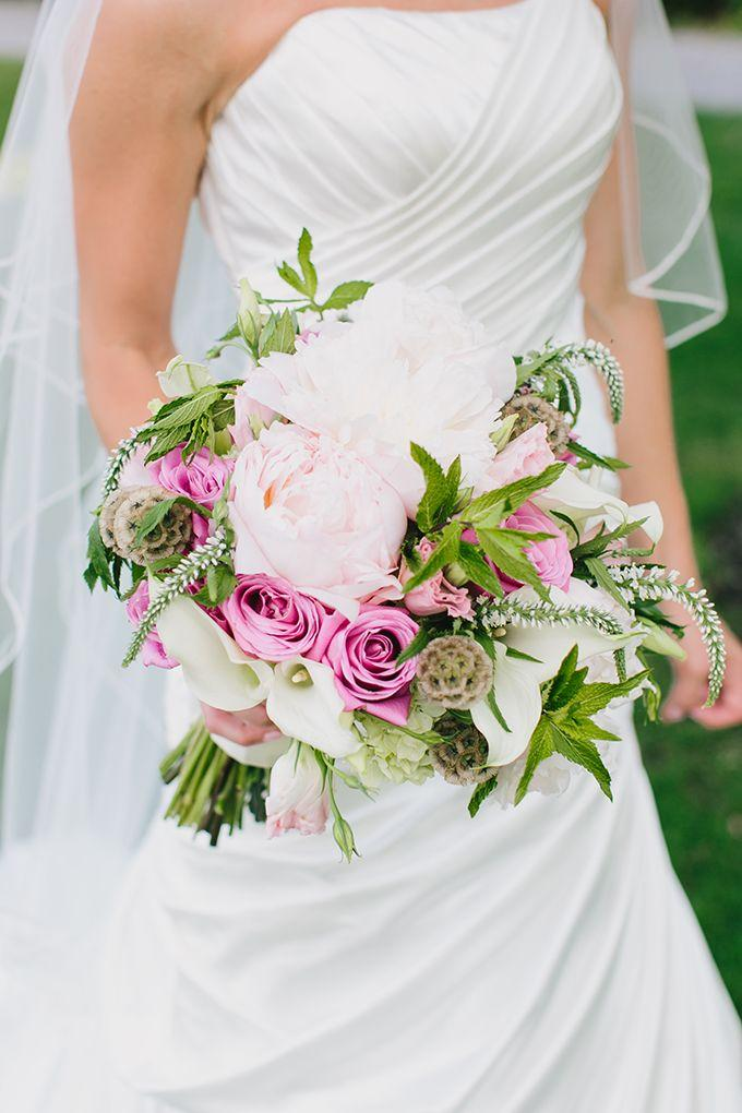 Свадьба - Wedding bouquet with pink and white roses