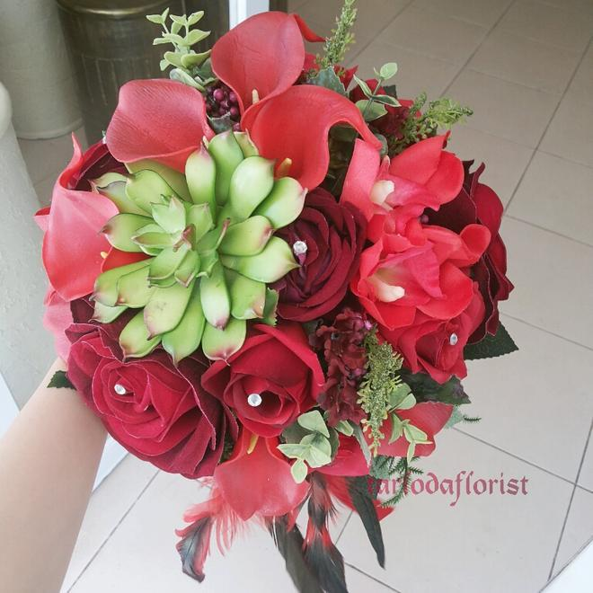 زفاف - red rose wedding bouquet