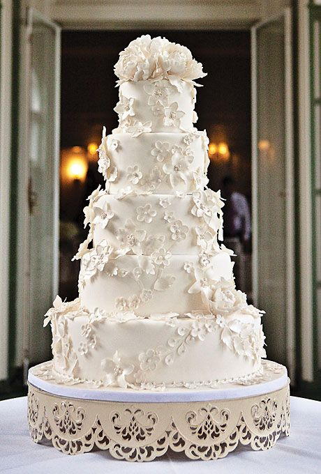 Wedding - Five tier white cake decorated with white flowers