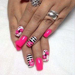 Black White Pink Nail Design