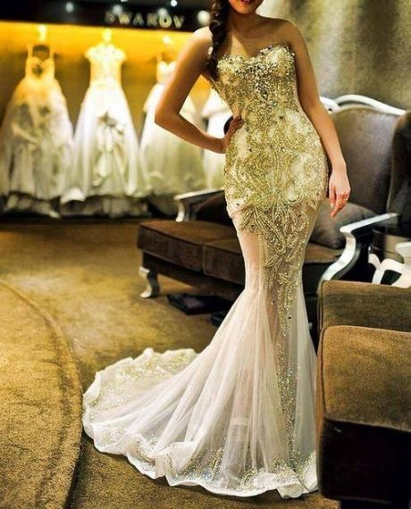 gold mermaid wedding gown