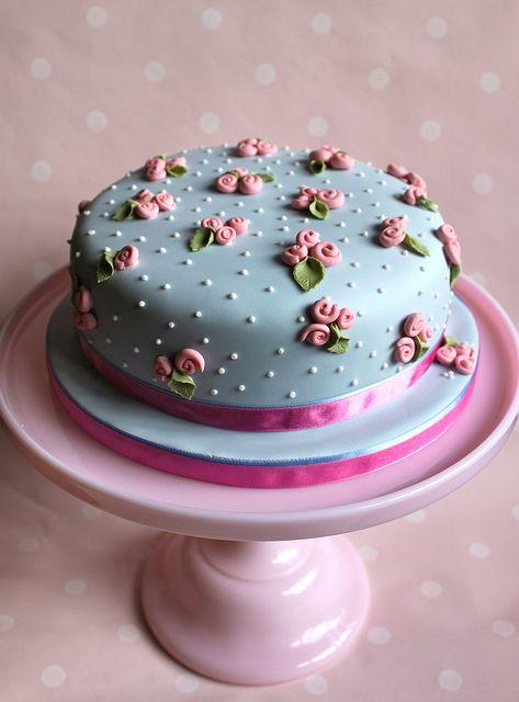 زفاف - Turquoise wedding cake decorated with pink roses