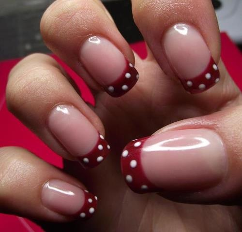 زفاف - Red And White Polka Dots Nail Design
