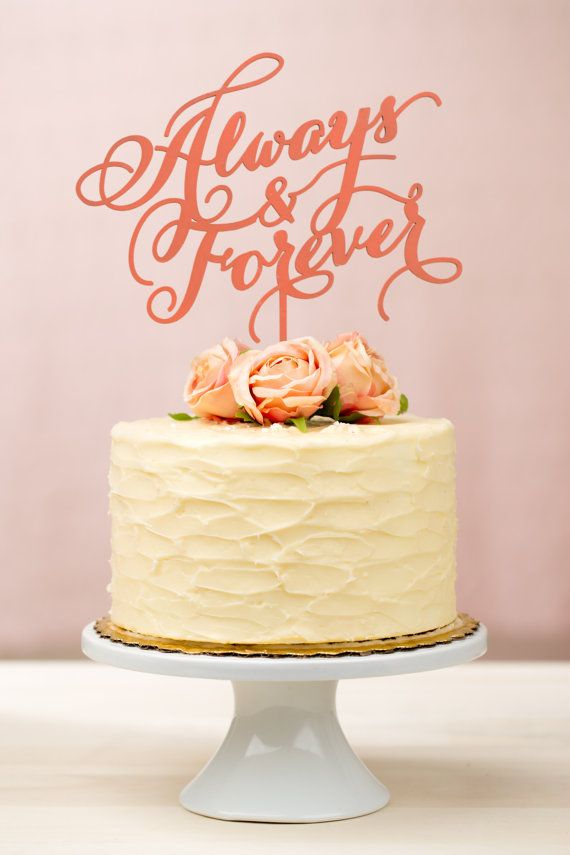 Always And Forever Wedding Cake Topper In Coral #2029944 - Weddbook