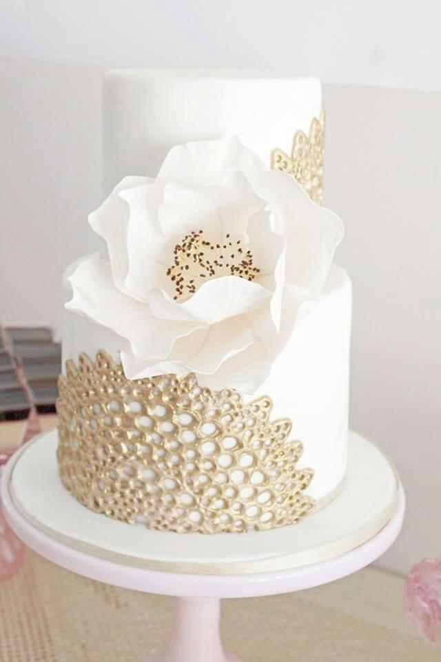 Wedding Nail Designs Gold Lace On Ivory Wedding Cake 2030069