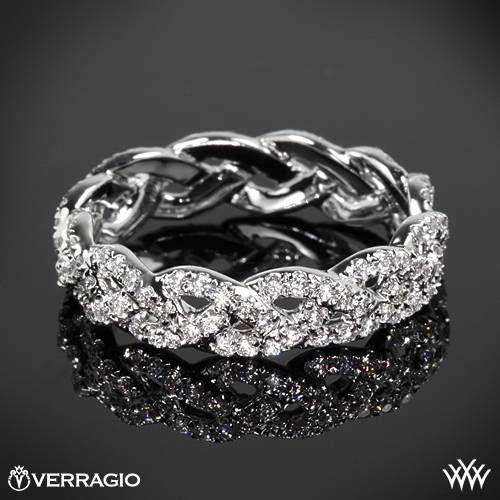 Mariage - Or blanc 18 ct Verragio éternelle tresse de diamant bague de mariage