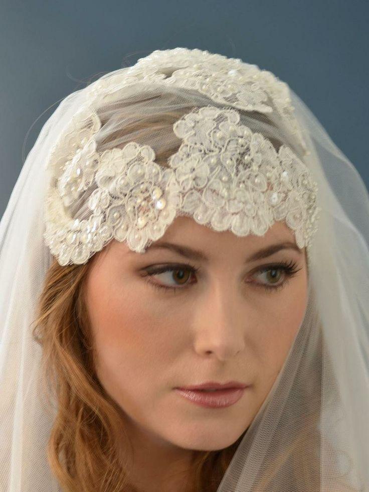 Hochzeit - Perlen Elfenbein-Spitze Kopfstück