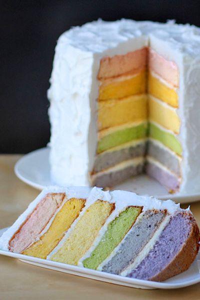 Свадьба - Радуга Слоеный Пирог С Натуральный Пищевой Краситель