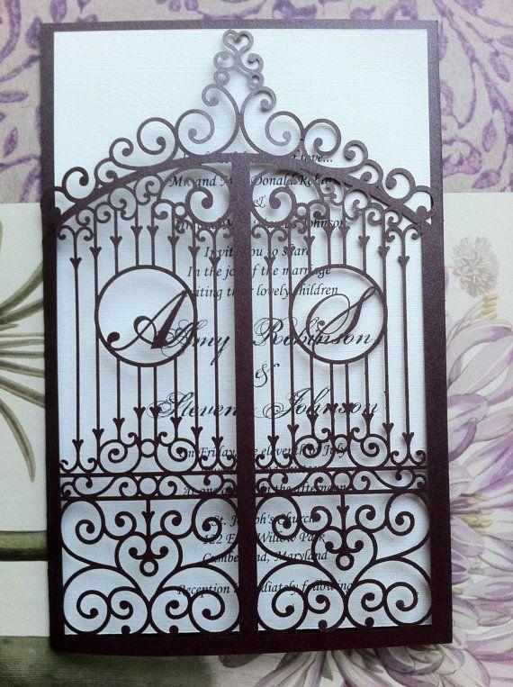 Laser Cut Hochzeitseinladung, Die Cut Monogramm Iron Gate Bi Folding  Muster, Benutzerdefinierte Luxus Einladung