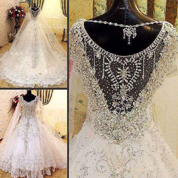 ff7da4a4a687 White Wedding Dress With Heavy Crystal Work  2031952 - Weddbook