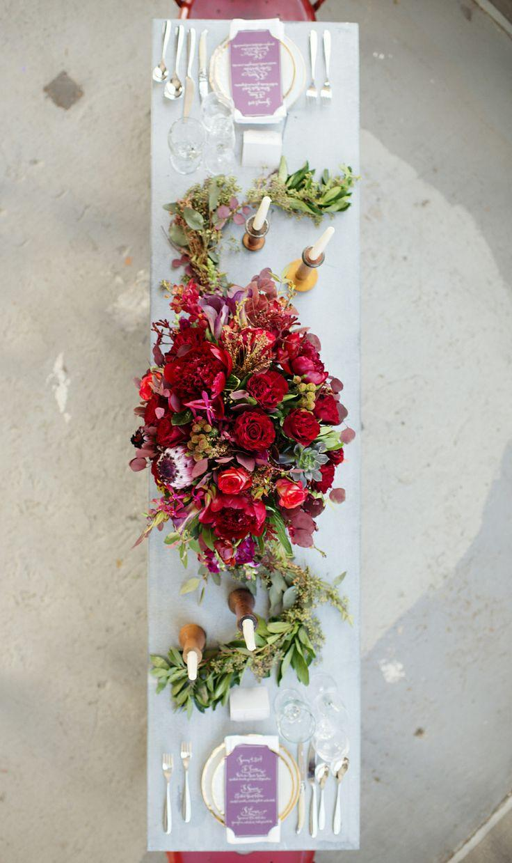 Wedding - Rich Red And Fuchsia Floral Centerpiece