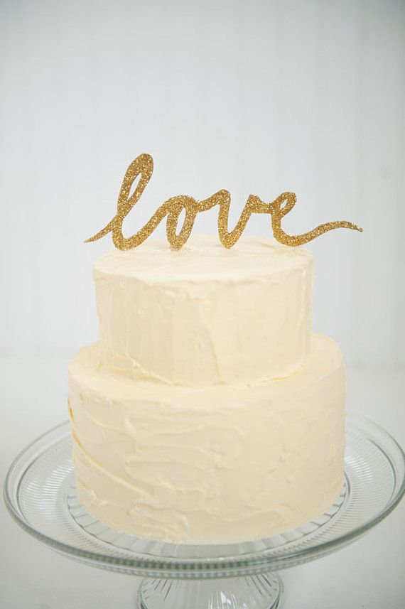 Love Images In Cake : Gold Glitter