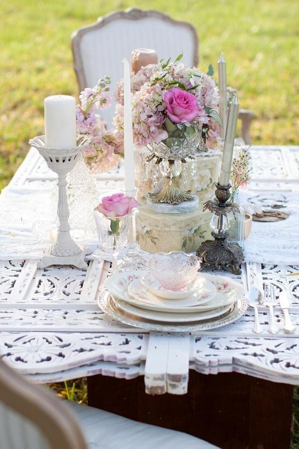 Pink amp Shabby Chic Wedding Table Setting 2032820 Weddbook