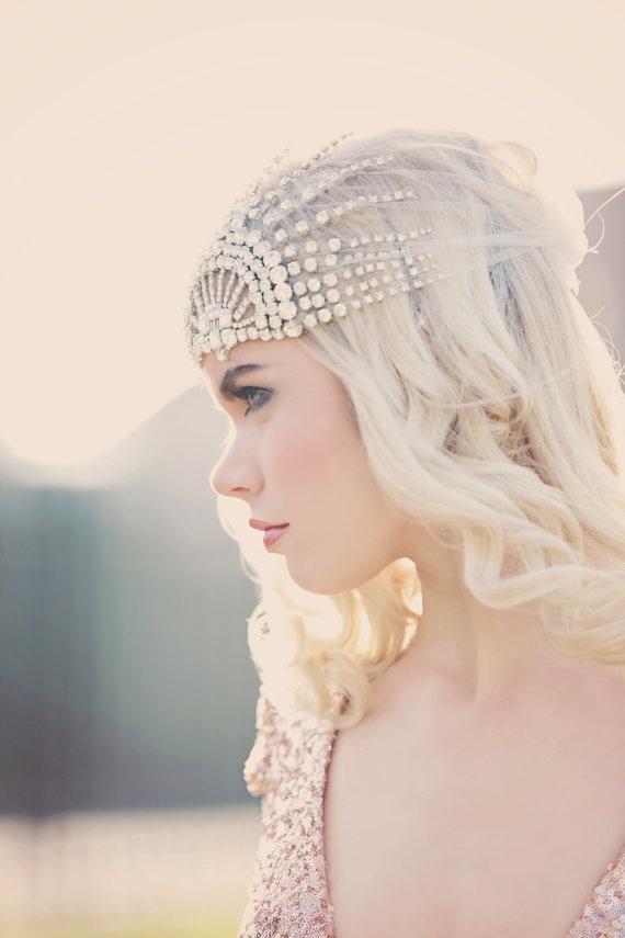 Mariage - Lujon - Tulle casque de cristal Art Déco 1920