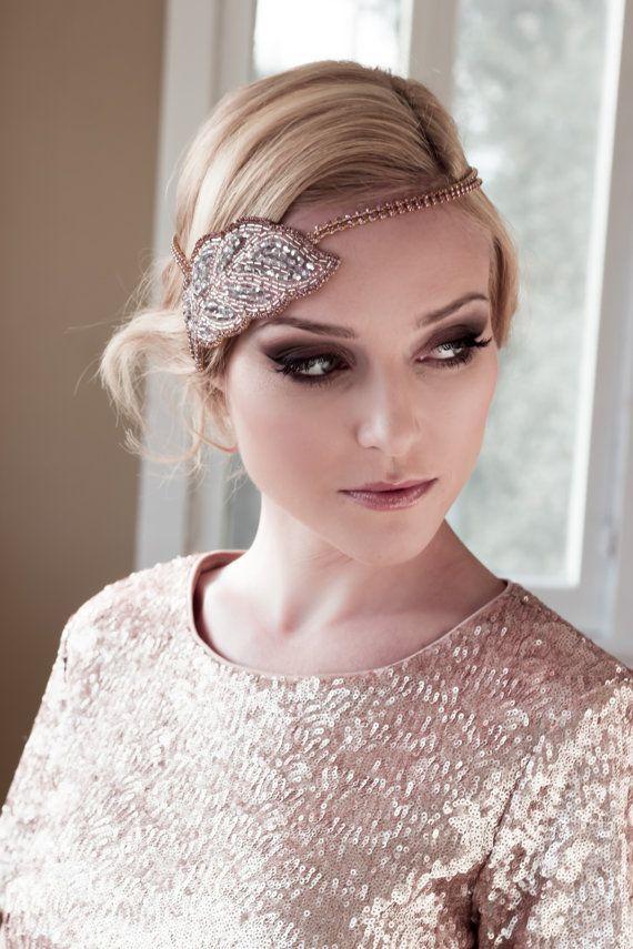 Wedding - Art Deco Bridal Headpiece With Gold Setting And Pink Rhinestone Headband, Seed Bead Leaf Headdress, Bridal Hair Comb Style: Cleopatra #1409