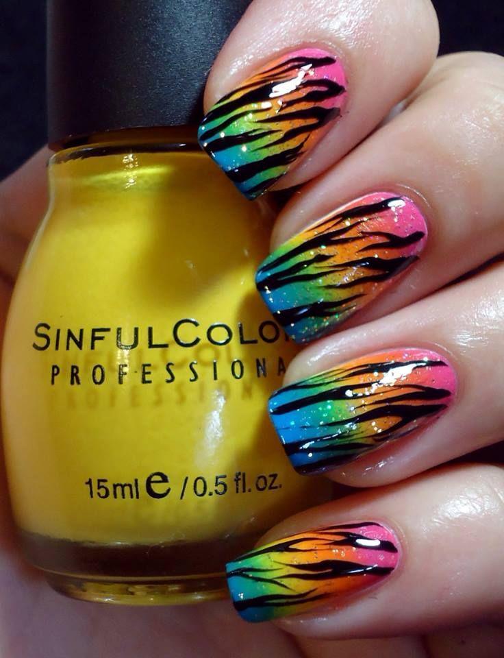 Rainbow Wedding - Rainbow Zebra Print Nail Design. #2034122 - Weddbook