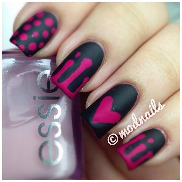 Black & Pink Nails By @modnails - Black Wedding - Black & Pink Nails By @modnails #2034127 - Weddbook