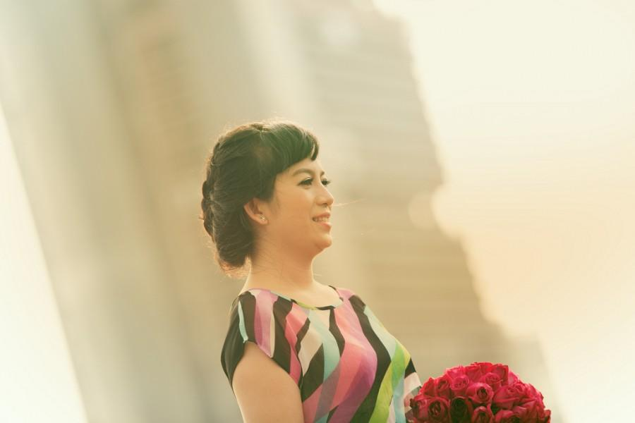 Wedding - Beautiful Bride In The Sunset