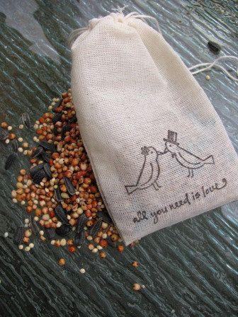 Hochzeit - 75 Vogel-Samen gefüllt Muslin Kordelzug Taschen-Hand-Stanzlovebird Mit Bild und Zitat