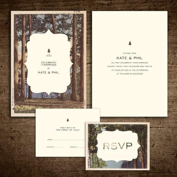 Großartig Rustikale Weinlese Postkarte Hochzeits Einladung