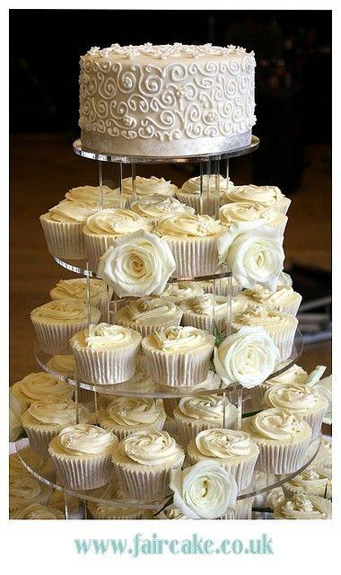 Wedding Cupcake Tower With Roses