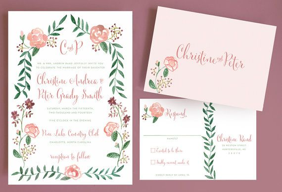 Aquarell Blumen Hochzeits Einladung Mit Blumen Rand Und Monogramm