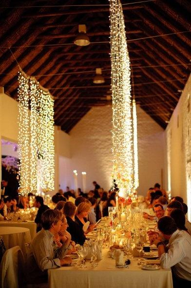 Wedding - Cascading Lights. So Pretty.