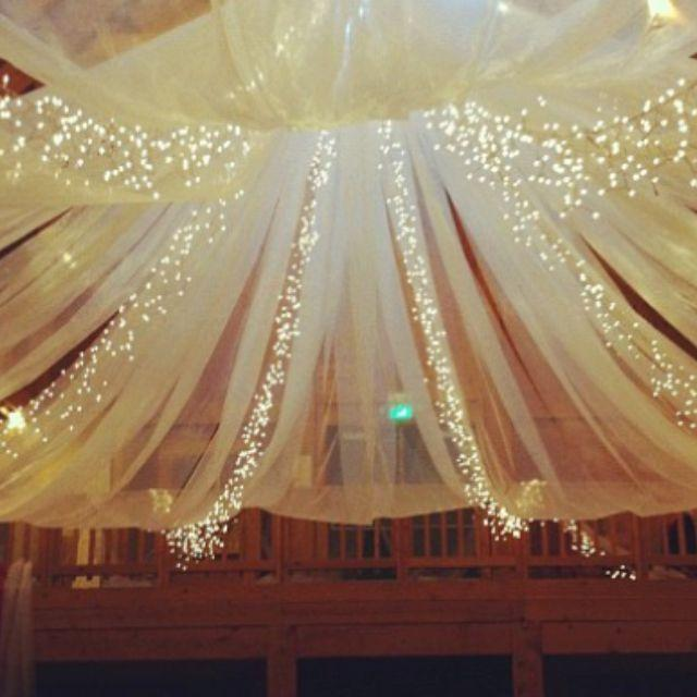 String Lights Wedding Diy : Barn Wedding - Tulle And String Lights In The Barn. #2037245 - Weddbook
