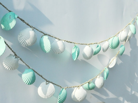 seashell garland beach wedding decoration, mint green and white