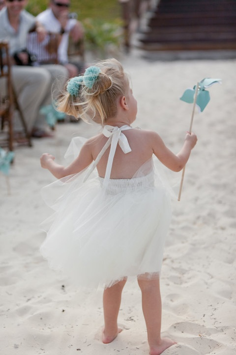 Beach Flower Dress In Ivory White