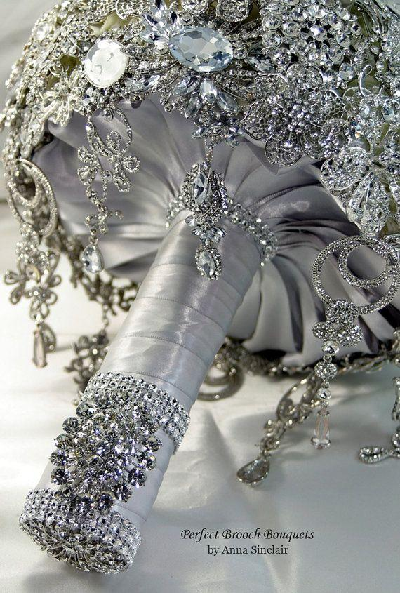 Wedding - Diamond Brooch Wedding Bridal Bouquet. DEPOSIT On A Made To Order Bouquet. It Shines Like A Diamond. Old Hollywood Gatsby. Bling