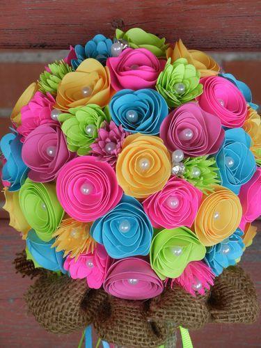 handmade paper flower wedding bouquet bright colors pink teal handmade paper flower wedding bouquet bright colors pink teal yellow coral mightylinksfo