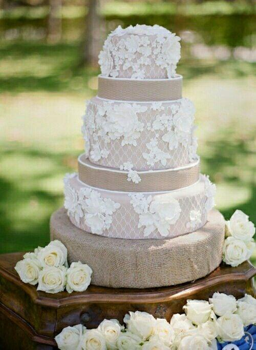 Wedding - Burlap Lace Wedding Cake