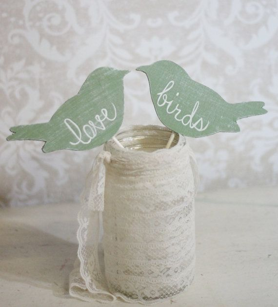 Wedding Cake Topper Love Birds Shabby Chic Wedding Decor Item P106031