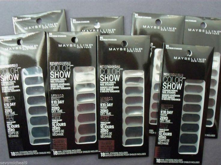 8 Maybelline Color Show Mirror Effect Nail Stickers Platinum Standard 80