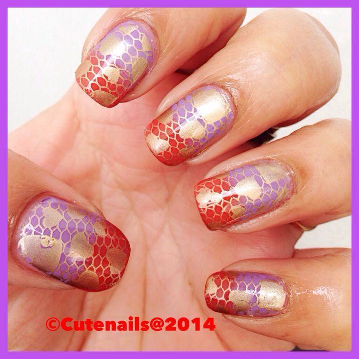 Orange Wedding Simple Orange And Purple Lace Nail Art 2039969