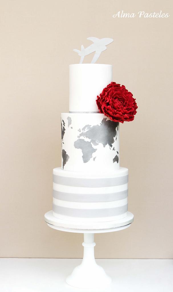 Wedding - Travel Themed Wedding Cake